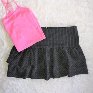 delias Ruffled Mini Skirt Gray Pink Striped 11